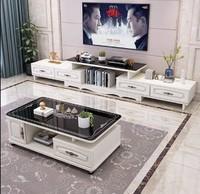 現代簡約小戶型電視柜茶幾組合客廳伸縮歐式鋼化玻璃電視機柜 圓角茶幾+四抽電視柜