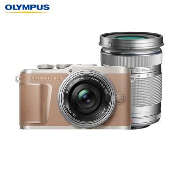 OLYMPUS 奥林巴斯 E-PL10 M4/3画幅 微单相机 (棕色、14-42mm EZ + 40-150mm R 双镜头、请选择、套机)