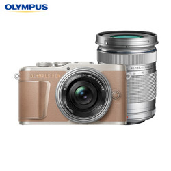 OLYMPUS 奥林巴斯 E-PL10 M4/3画幅 微单相机 (棕色、14-42mm EZ + 40-150mm R 双镜头、套机)