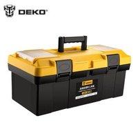 DEKO工具箱19寸加厚强型塑料PP手提箱车载多功能维修工具盒中号双层零件箱