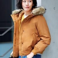 UNIQLO 优衣库 421743 女装夹层连帽罗纹茄克