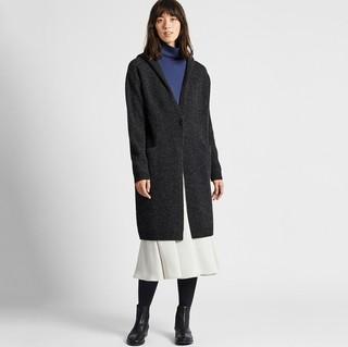 UNIQLO 优衣库 420515 女士羊毛混纺连帽针织大衣
