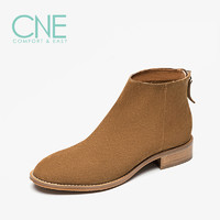 CNE19秋冬新款日系纯色牛皮简约中跟后拉链及踝靴女短靴28803