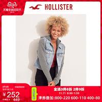 Hollister2019年秋季新品连帽短款牛仔夹克外套 女 300260-1 双11爆款