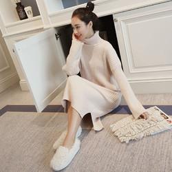 KIWAME/极 宽松高领加厚中长款打底针织毛衣裙过膝冬
