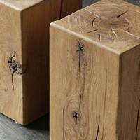 原装进口/英国Square roots原版/北欧/MOKU橡木木墩茶几方凳2款T