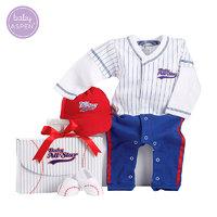 BabyAspen棒球服婴儿连体衣新生儿纯棉哈衣宝宝长袖爬服套装0-6月 *5件