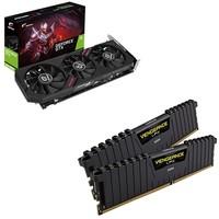 COLORFUL 七彩虹 GTX1660 SUPER Ultra 6G 显卡 + 海盗船 DDR4 3000 台式机内存 8G*2