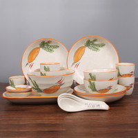 石田烧 日式釉下彩纯手绘陶瓷餐具 20头