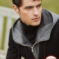 VICUTU/威可多男士单西服羊毛混纺时尚休闲黑色修身西装外套男