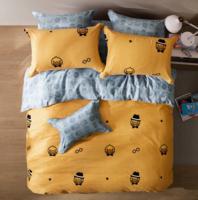 LOVO家纺 罗莱生活出品全棉磨毛四件套纯棉加厚保暖双面绒床上用品 翎梦 1.8米床220*240
