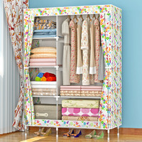 艾格调加固布衣柜 钢管加粗加厚简易衣柜防尘组装折叠组合布衣橱1321