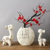 Hoatai Ceramic 华达泰陶瓷 鹿花瓶摆件三件套 傲雪迎春(丁香.红梅)+幸福小鹿 *3件