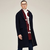 GXG秋冬新款男款简洁大气长款羊毛呢大衣