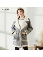 拉夏贝尔集团旗下拉贝缇羊羔毛绒呢子大衣 60005725