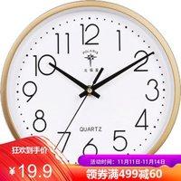 北极星(POLARIS)客厅挂钟简约创意石英钟时尚卧室钟表现代田园时钟欧式挂表 7192金色