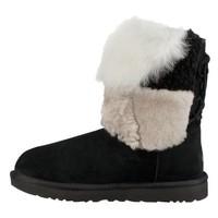 UGG Classic Short Patchwork Fluff系列 女士时尚羊毛补丁系带中帮雪地靴 *3件