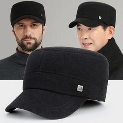 中老年帽保暖棉帽带护耳鸭舌帽老人帽