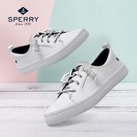 Sperry/斯佩里女鞋 系带低帮鞋 夏季休闲舒适透气牛皮小白鞋板鞋 白色STS80642 38