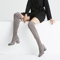 考拉工厂店 羊反绒粗跟弹力过膝靴