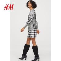 HM女装裙子 2019秋冬新款气质长袖一字领连衣裙 0785825