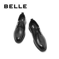 BELLE/百丽商场同款黑色英伦牛皮系带商务正装经典男士休闲皮鞋5UU01CM8 黑色 40