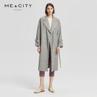 羊毛混纺MECITY女装新款梭织复古格子外套