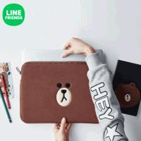 LINE FRIENDS 布朗熊便携电脑包15寸 可爱卡通苹果笔记本包收纳包