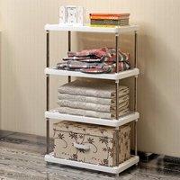 索尔诺置物架 厨房层架塑料落地收纳储物架 浴室客厅整理架子四层 Z614(Z614)