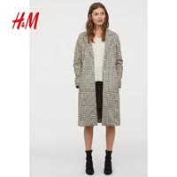 H&M女装风衣女 2019春秋新款米色格纹直筒大衣HM0737777