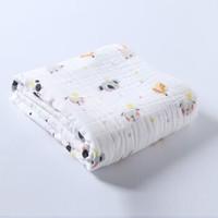 北极绒6层婴儿浴巾宝宝纯棉抱被儿童盖毯水洗新生儿纱布浴巾110*110动物印花 *4件