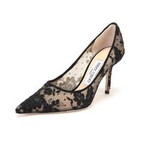 JIMMY CHOO 周仰杰 女士黑色花卉图案织物尖头高跟鞋 LOVE 85 ORE 247 BLACK 38码