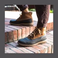 CAT/卡特秋冬黑色/棕色牛皮/牛剖层革/织物男户外休闲靴