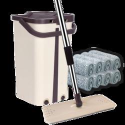 FaSoLa 免手洗平板拖布 拖把桶 拖把杆 6块拖布