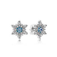 PANDORA 潘多拉 290590NBLMX 925银 蓝色晶莹雪花耳钉
