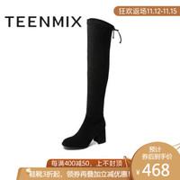 Teenmix/天美意2019冬新款黑色性感过膝长靴女粗高跟皮靴BGY01DC9时装靴纯色 黑色 39