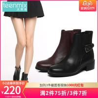 天美意冬商场同款牛皮气质搭扣装饰女短靴6S141DD6