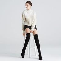 考拉工厂店 羊反绒粗跟弹力过膝靴4厘米 *2件