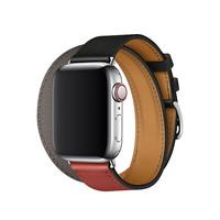 Apple 苹果 Watch Hermès Double Tour 皮革表带 40mm 黑、砖红配灰色