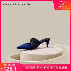 CHARLES&KEITH女单鞋CK1-61720006蝴蝶结猫跟穆勒鞋凉鞋