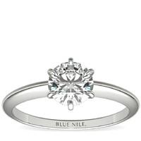 Blue Nile 经典六爪单石订婚戒指 铂金 配1克拉钻石