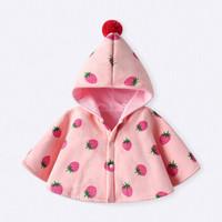 婴儿秋冬外出防风披风斗篷女宝宝保暖披肩粉色0-3岁