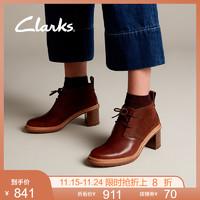 clarks其乐女鞋Trace Glow英伦复古撞色拼接粗高跟靴子短靴踝靴女