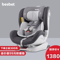 贝思贝特(besbet)汽车儿童安全座椅0-4-6岁isofix 绅士灰(165°大躺角、可坐可躺、正反双向安装)