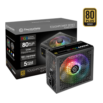 Tt(Thermaltake)额定600W Toughpower GX1 RGB 台式机电脑主机机箱电源(80PLUS金牌/日系主电容/静音风扇)