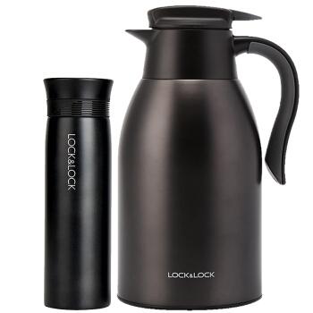 LOCK&LOCK 乐扣乐扣 LHC1464S602 家庭保温套装(拉恩保温杯400ML+妙趣咖啡壶2.2L) 黑色