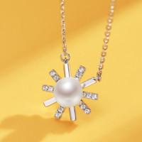 京润珍珠 曜日 925银镶淡水珍珠项链 5-6mm