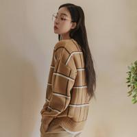 韩都衣舍 2019秋V领格子宽松长袖女毛衣针织衫PC8436璎