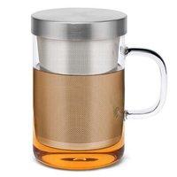 尚明samadoyo 耐热加厚玻璃杯水杯 带盖不锈钢过滤办公家用茶杯 S050  500ml *3件