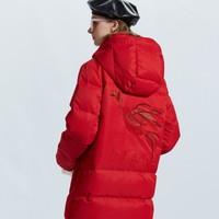 ochirly欧时力冬装连帽贴布绣长款羽绒外套1GZ3337980
